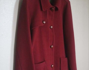 Vintage Burgundy Italian Wool Coat The Territory Ahead Women's Size M