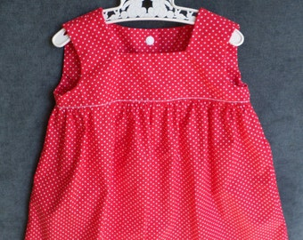 Handmade Baby Dress in cotton red and white polka dots - Robe bébé en coton rouge à pois blancs fait main