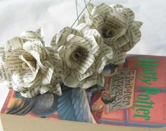 3 Harry Potter Roses, Book Page Paper Flower Roses, 3 Handmade Flowers, Handmade Roses