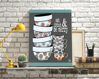 Kitchen art print.  Kitchen home decor.  Kitchen wall art. Mixing bowls. Tea cups. Kitchen poster. Typography kitchen word art print.