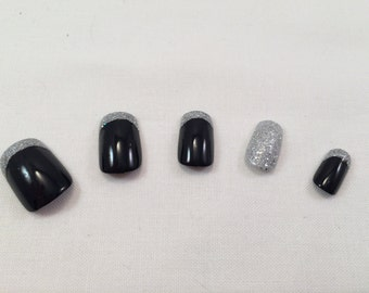 Black Nails W/ Silver French Tip and Glitter Accent Nail False Nail Set