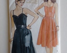 Vintage 1980's New Look 6420 Spaghetti Strap Summer Evening Cocktail Dress Sewing Pattern
