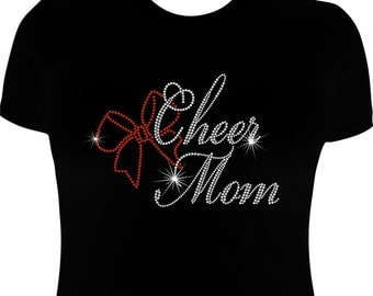 Cheer Mom shirt, Rhinestone, Cheer mom, Bling cheer