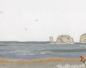 Old Harry Rocks, Dorset - Giclee Print of Original textile artwork