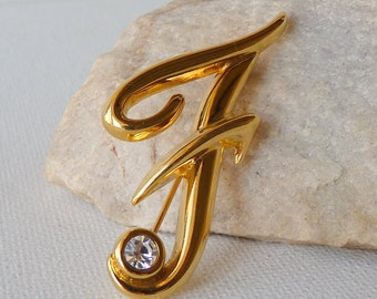 MONET Gold Crystal Pin Vintage Letter F Monogram, Fancy Gold Tone Rhinestone Brooch, Monogram F Brooch, Gold Brooch, Retro F Statement 70's