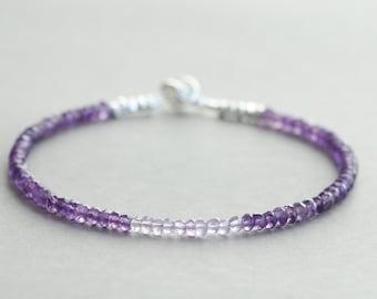 Amethyst Bracelet February Birthstone Bracelet Pink Amethyst Gemstone Bracelet