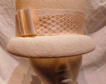 Vintage Hat White Bucket Hat with Ribbon Netting Accent