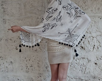 SUMMER SALE 20% Arrow Scarf In Black And White, Square Scarf, Tribal Scarf, Arrow Print, Spring Summer Scarf, Gift for her, Hanamer