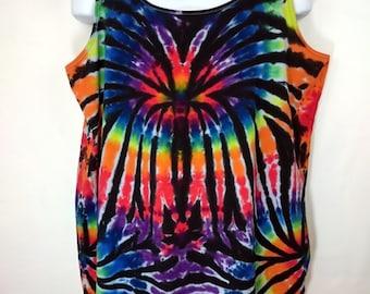 Rainbow tie dye, Rainbow women's vest, Tie dye vest, Plus size tie dye, Plus size vest top, Plus size festival top, Size UK 26-28 Vest