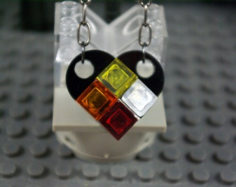 Heart Necklace Black, Transparent Red, Orange, Yellow and Clear Handmade from Lego bricks
