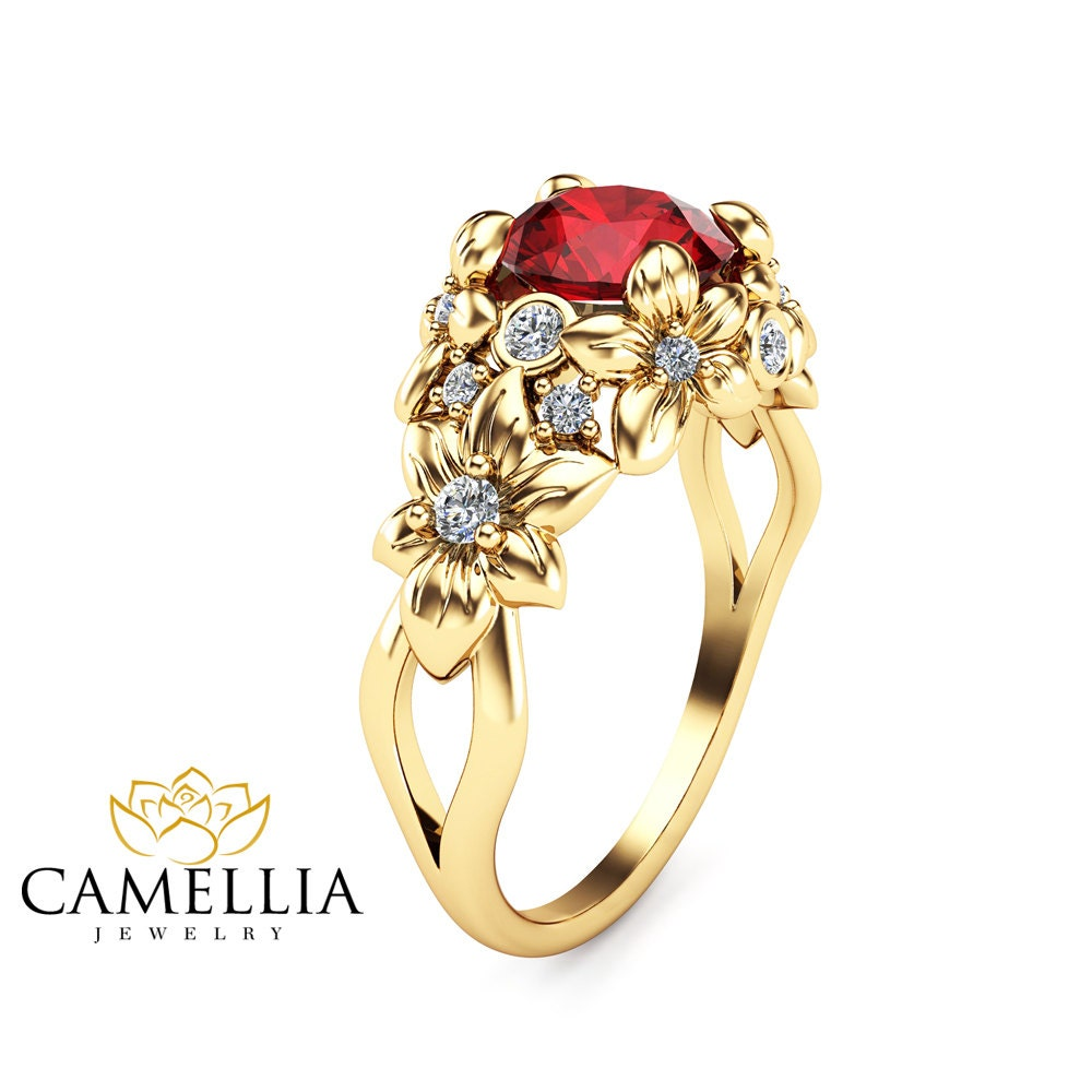 Ruby Floral Engagement Ring 14k Yellow Gold Floral Ring Unique