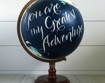 Guestbook Globe, Painted Globe, World Globe, Custom Color and Quote Guest Book, Wedding Guestbook, Floral and/or Home Decor, Painted 12""