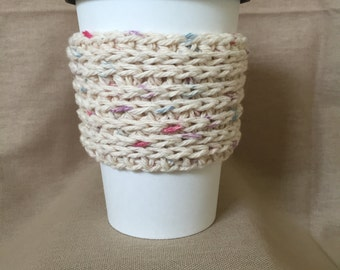 Tan with multicolor Handmade Crochet Coffee Cup Cozy