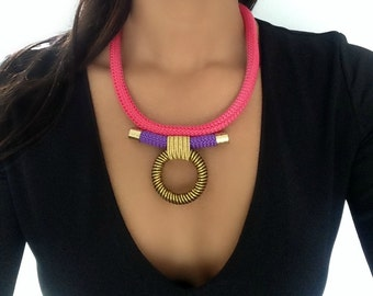 Fantasia Fuchsia Necklace - necklaces for women - gift women - gift for her - ethnic necklace - rope necklace - christmas gift for her
