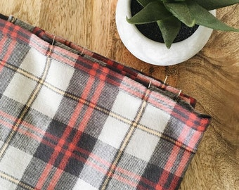Navy/Red/Yellow Plaid Flannel Scarf