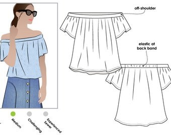 Cara Top - Sizes 4, 6, 8 - PDF sewing pattern for printing at home by Style Arc - Instant Download