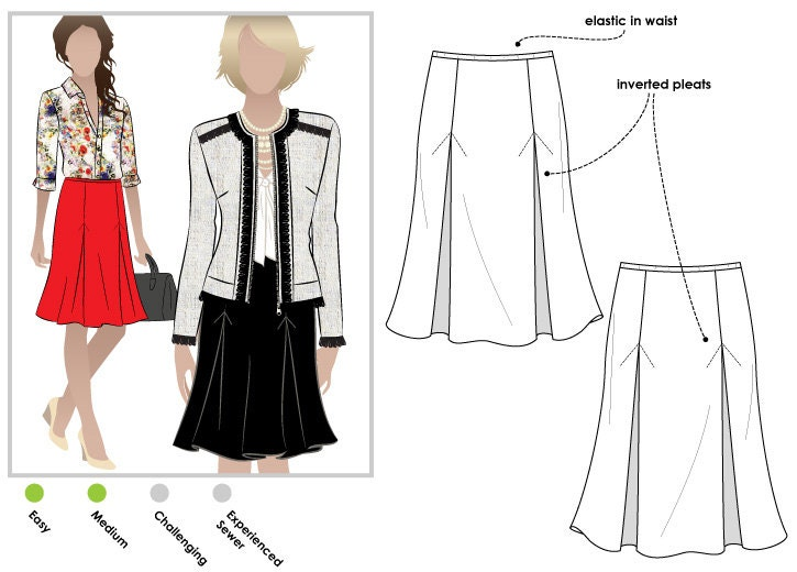 Allison Knit Skirt PDF Sewing Pattern // Sizes 28 & 30