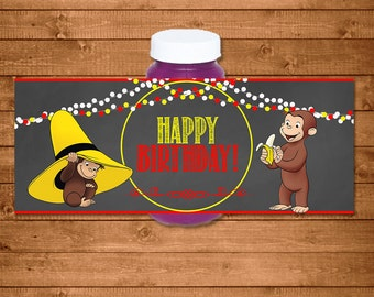 Curious George Bubble Labels Chalkboard -- Curious George Bubble Bottle Labels -- Curious George Birthday - Curious George Party Printables