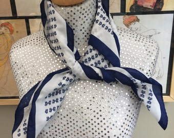 Vintage 1970's Navy Blue and White Hand Screen Printed Scarf.  27'' Squared.