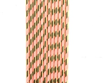 Peach and Gold Straw, Decorative Straw, Party Decor, Paper Straw, Baby Shower Decor, Gold Wedding, Coral Stripe Straw, Peach and Gold
