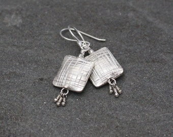 Thai Fine Silver Square Earrings, Silver Square Dangles, Sterling Silver, Etched Silver Squares, Geometric Dangle Earrings