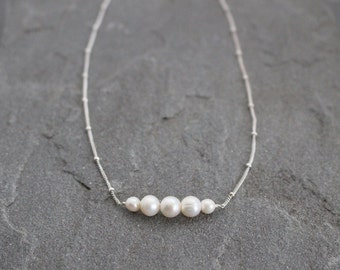 Pearl Necklace on Chain, Delicate Pearl Necklace, Sterling Silver Chain, White Pearl Bar Necklace, Freshwater Pearl Jewelry