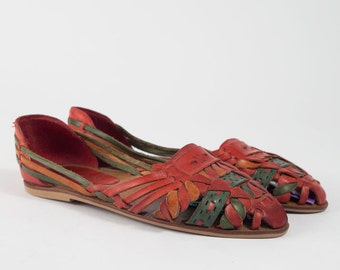 Vintage Colorful Huarache Sandals | 80s 90s Woven Leather Flats | Women's Size 5.5