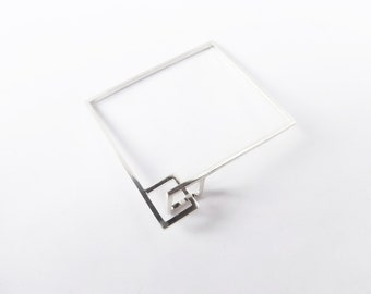 Square bracelet. Sterling Silver. For him. For her. Unique, minimalist and sculptural.