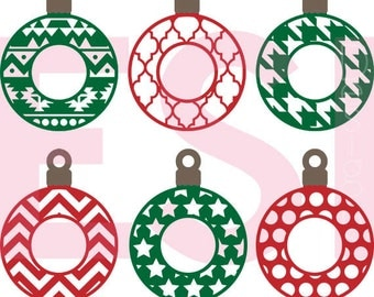 Christmas ornament svg, monogram frames, Baubles, Christmas svg files, SVG, DXF, EPS, use with Silhouette Studio and Cricut Design Space.
