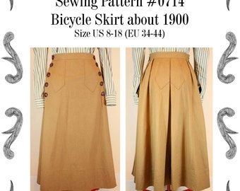 Edwardian Bicycle skirt about 1900 Sewing Pattern #0714  Size US 8-30 (EU 34-56) PDF Download