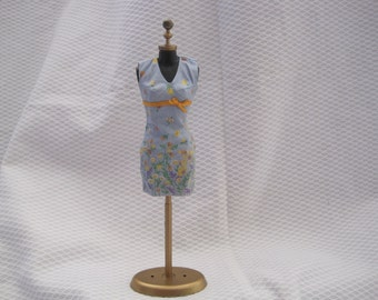 vintage hand made fashion doll dress on mannequin