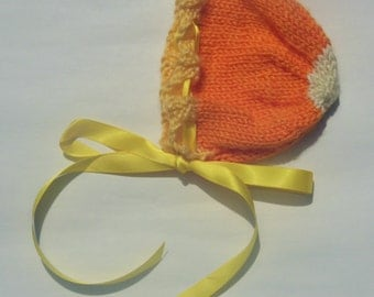 Knitted Candy Corn baby bonnet RTS
