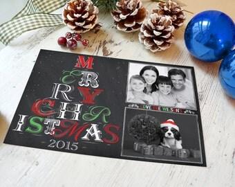 Christmas Card, Photo Christmas Card, Chalkboard Christmas Card, Reindeer Christmas Card, Holiday Card, DIY Printable Christmas Card