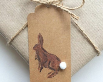 Bunny Rabbit Gift tags - 100% Recycled Kraft card and Natural Twine