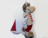 "Horse toy Ewan Art doll cloth horse doll Fabric toy OOAK 21""53cm Big Soft toy Art horse Boy Gift Room decor Home blue red beige Nautical"