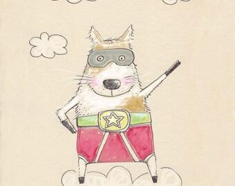 superdog - boy name print - childrens wall art - nursery art - 8x10 inches