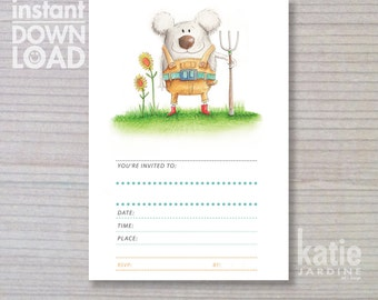 instant invitation -  kids invitation - farmer invitation - koala - childrens invitation - little farmer