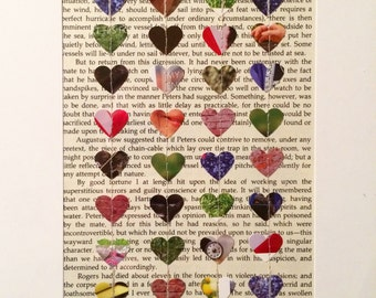 Sewn Book Page Heart Art / Book Lover Art / First Wedding Anniversary Gift