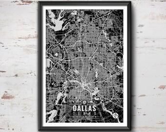Dallas Texas Map with Coordinates, Dallas Map, Map Art, Map Print, Dallas Print, Dallas Art, Dallas Wall Art, Map, Dallas, Texas, Wall Art
