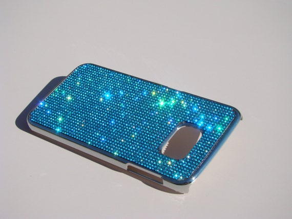 Samsung Galaxy S6 Edge Aquamarine Blue Rhinestone, Silver Chrome Case. Velvet/Silk Pouch Bag Included, Genuine Rangsee Crystal Cases.