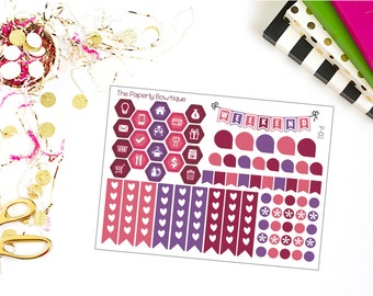 P-02// Plum Collection Functional Sheet of Stickers for Erin Condren