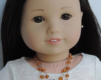 Silver and Topaz Double Strand Necklace for American Girl Dolls