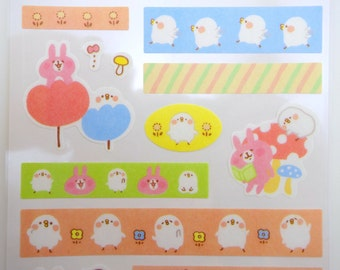 Japanese Kanahei stickers - Piske & Usagi - kawaii stickers - washi stickers - pink bunny stickers - cute chick stickers - emoji stickers