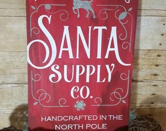 Christmas sign, Santa sign, Christmas decor, wood Christmas sign, wood Santa sign, reindeer sign, North pole sign, Santa Claus, Christmas