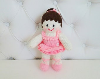 Hand Knitted Ballerina - Ballet Doll -  Ballet Girl Size 12 Inches (MADE TO ORDER)
