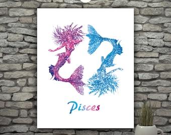 Zodiac Pisces Art, March Birthday Pisces Constellation, Blue Glitter Mermaid Printable, Astrology Print Mermaid Wall Art, Purple Glitter