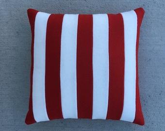 Letterman Pillow - Red & White Stripes