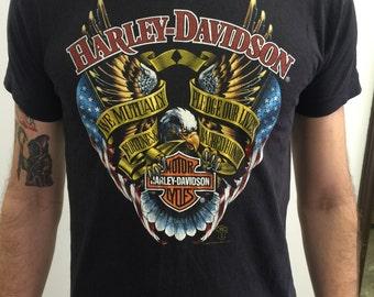 "RARE 1988 Harley Davidson 3D Emblem ""Cycle Empire"" Vintage T-shirt M"