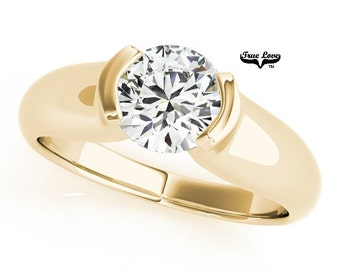 Engagement Ring  1.00 Carat 6.5mm  Solitaire Forever one Round Brilliant Cut  Moissanite  14 kt. Yellow Gold #7611