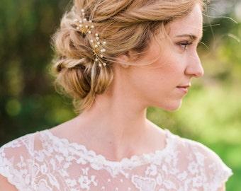 Set of 2 Gold Pearl Branch Hair Pin bridal hair pin gold hair pin branch hair pin pearl hair pin bridal pearl hair pin bridal headpiece #74
